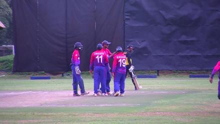 Charles Amini dismissed lbw by Dipendra Singh Airee
