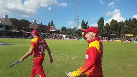 Zimbabwe celebrate victory over Ireland