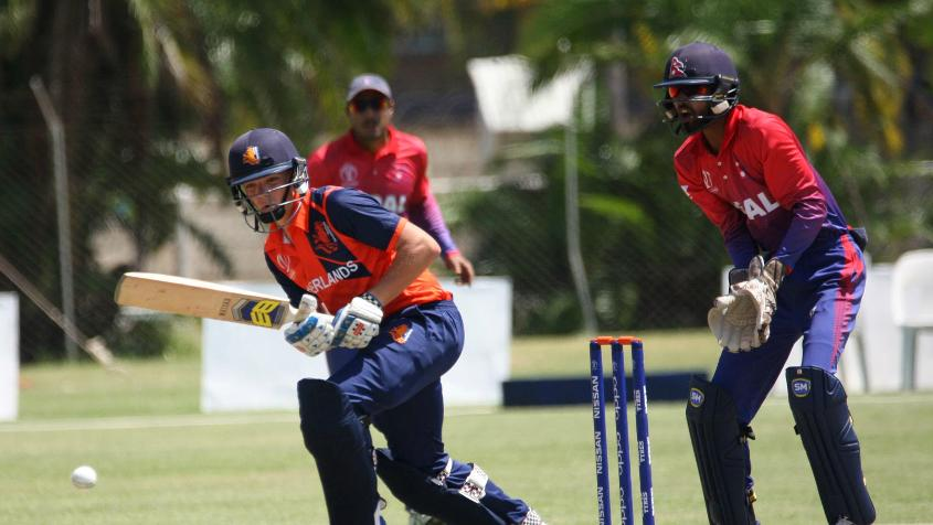 Bas de Leede (left) top-scored for the Netherlands with 39 runs from 91 balls