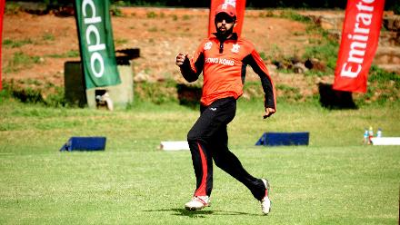 Hong Kong fielder Simandeep Singh in action against Nepal in the last match of their Group B, ICC World Cup Qualifier at BAC in Bulawayo, Mar 12 2018 (©ICC).