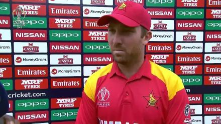 Brendan Taylor talks after making 138 against West Indies at CWCQ