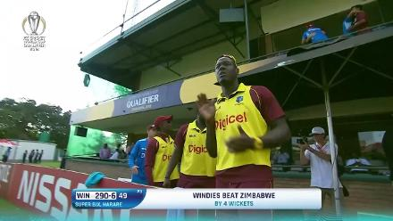 West Indies' winning moment against Zimbabwe