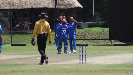 Chirag Suri is caught behind off Rashid Khan for 22