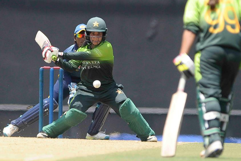 Javeria Khan swept with authority as she brought up her second ODI hundred in the opening match against Sri Lanka