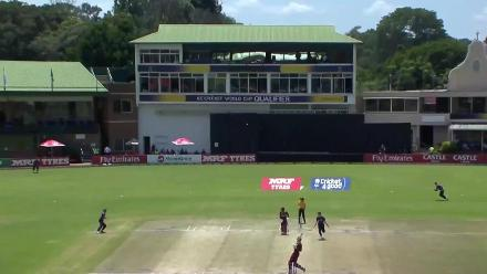 Jason Holder finds mid-on with a mistimed pull