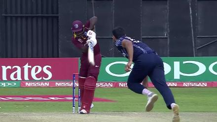 Powell deflects onto his stumps to give Sharif his third!