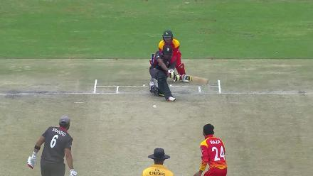 Shabber bowled round his legs by Raza