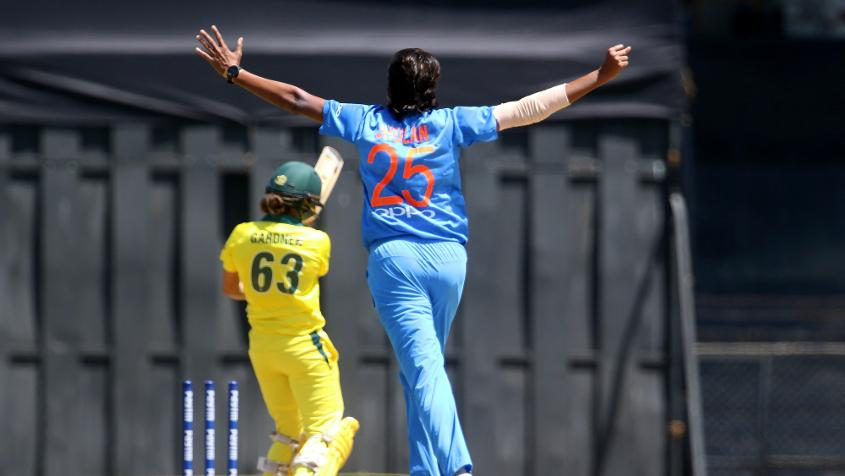 Jhulan Goswami, who was returning to international cricket after an injury layoff, picked up three wickets