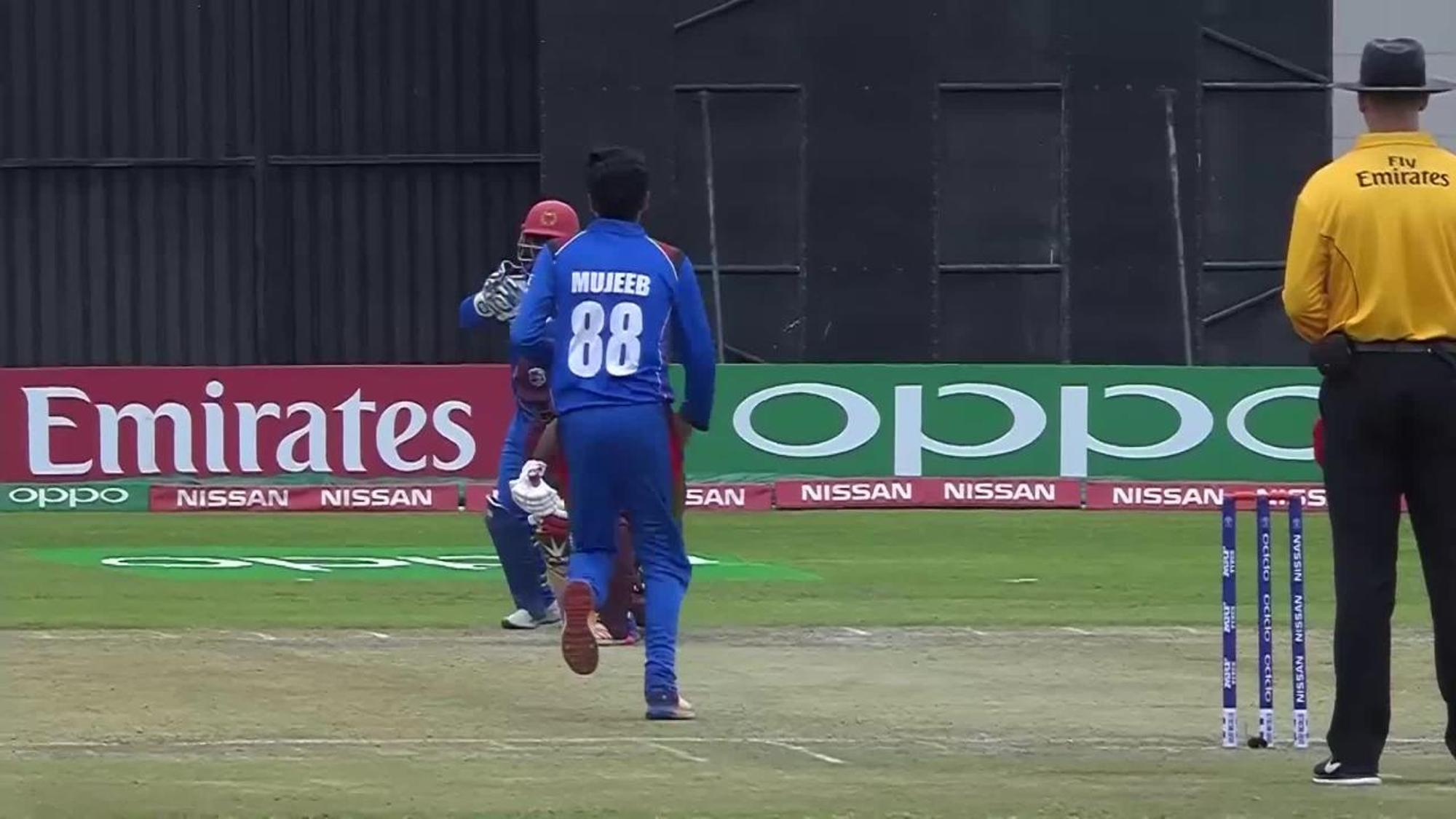 Kemar Roach goes for a golden duck to end West Indies' CWCQ final innings