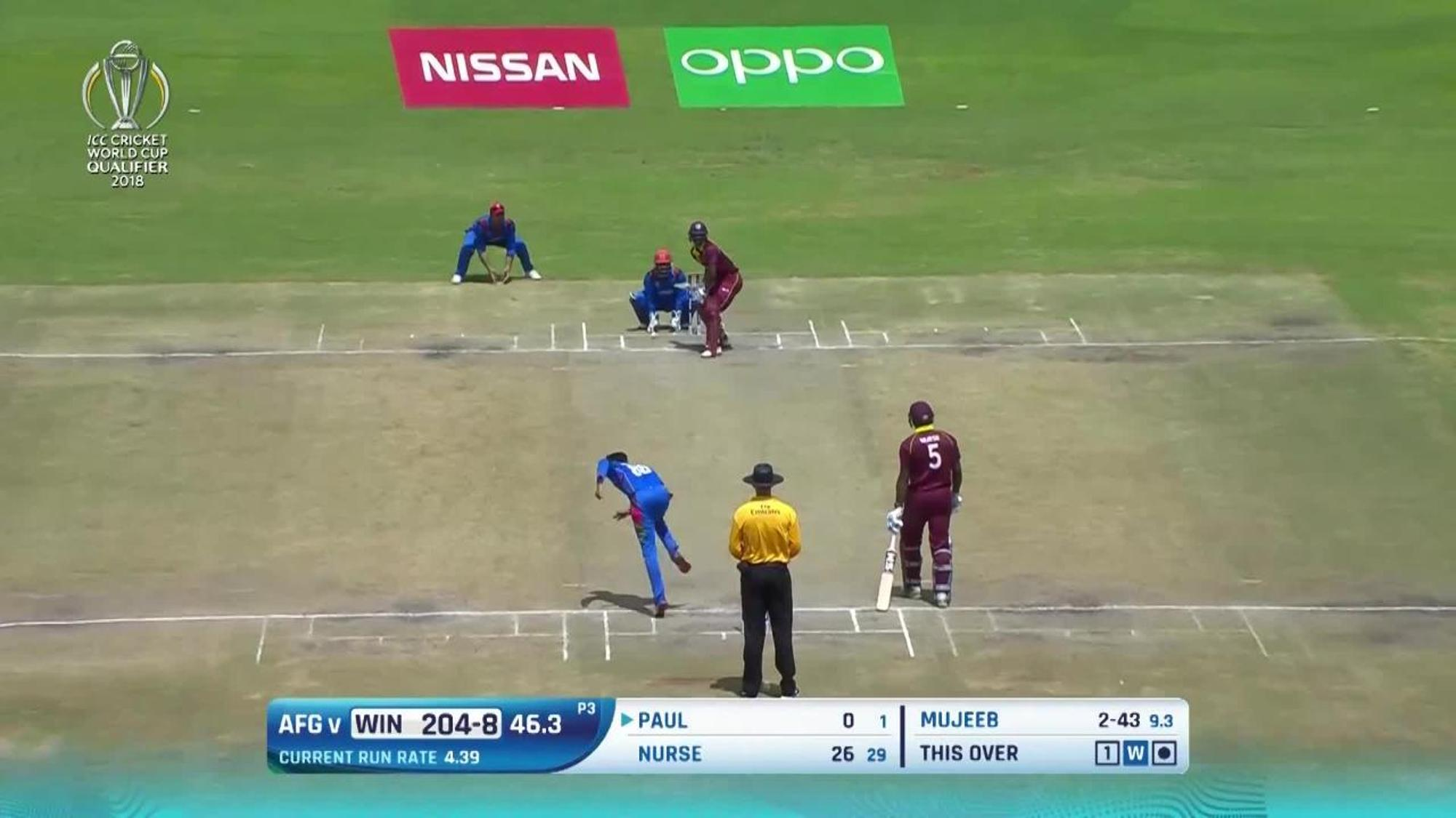 Mujeeb Ur Rahman's 4/43 against West Indies in the CWCQ final