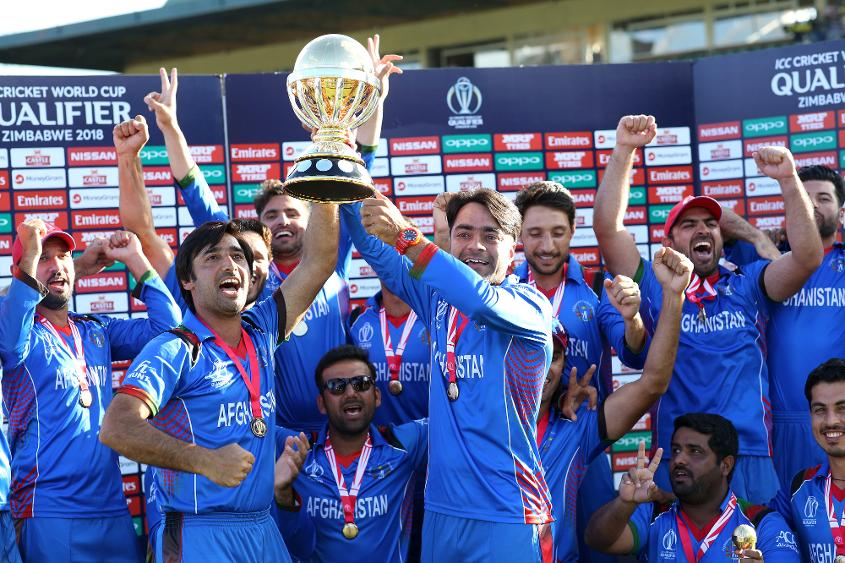 The victorious Afghanistan team after wining The ICC Cricket World Cup Qualifier Final between The Windies and Afghanistan at The Harare Sports Club on March 25, 2018 in Harare, Zimbabwe.