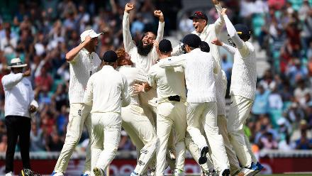 Shortlist - Mike Hewitt (Getty Images) - Moeen Ali of England celebrates with his teammates after completing a hat-trick to give England victory in the third Test between England and South Africa at the Kia Oval, 31 July 2017, London, UK