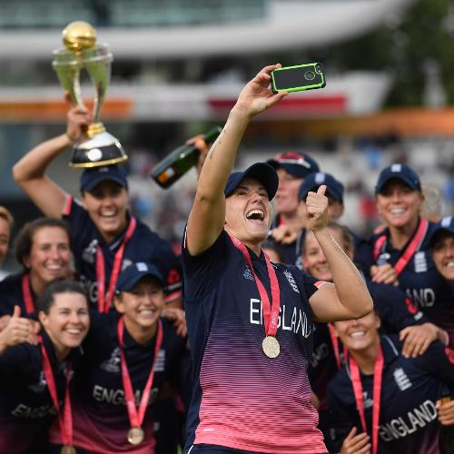 Winner - Stu Forster (Getty Images) - Katherine Brunt of England takes a selfie with the victorious team and the trophy after winning the ICC Women's World Cup Final between England and India at Lord's Ground, 23 July 2017, London, UK
