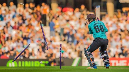 Runner-up – David Rowe (Freelance) - Sam Curran of Surrey is bowled by Paul Walter of Essex in a NatWest T20 Blast match at the Kia Oval, 19 July 2017, London, UK