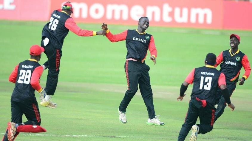 Isaac Aboagye of Ghana celebrates the wicket of Inzimam Master of Botswana