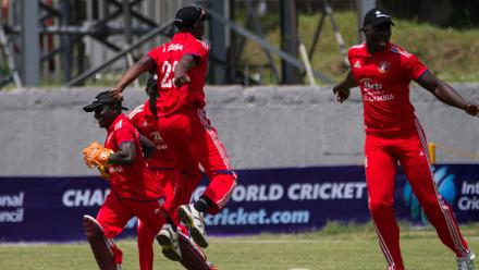 A Ghanian wicket sparked celebrations from The Gambia's fielders