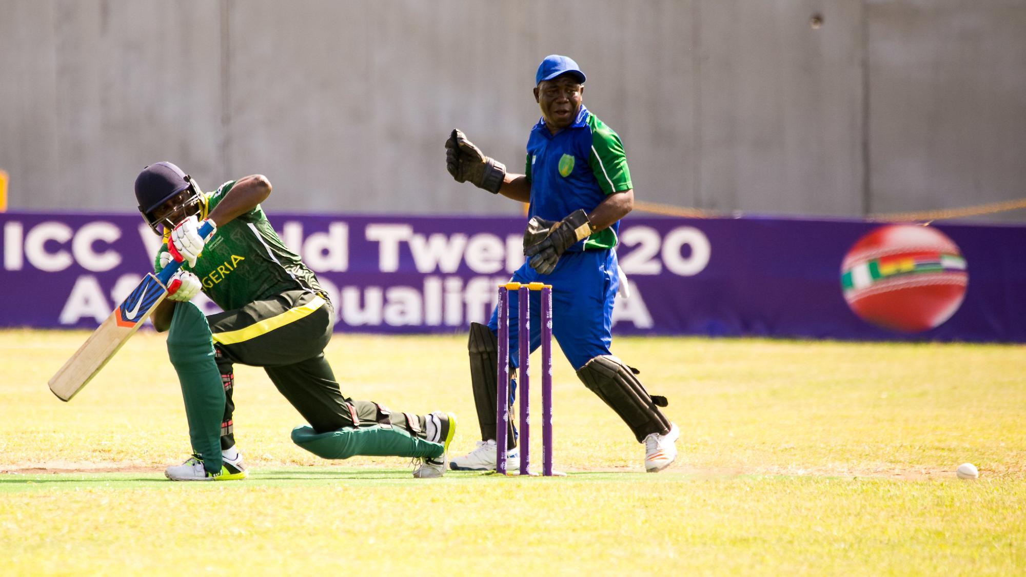 Dotun Olatunji of Nigeria tucks the ball into the leg-side