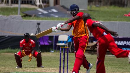 Ghana batsman Peter Anayan plays a cut stroke