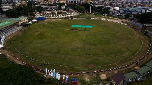 Drone shot of TBS Oval in Lagos
