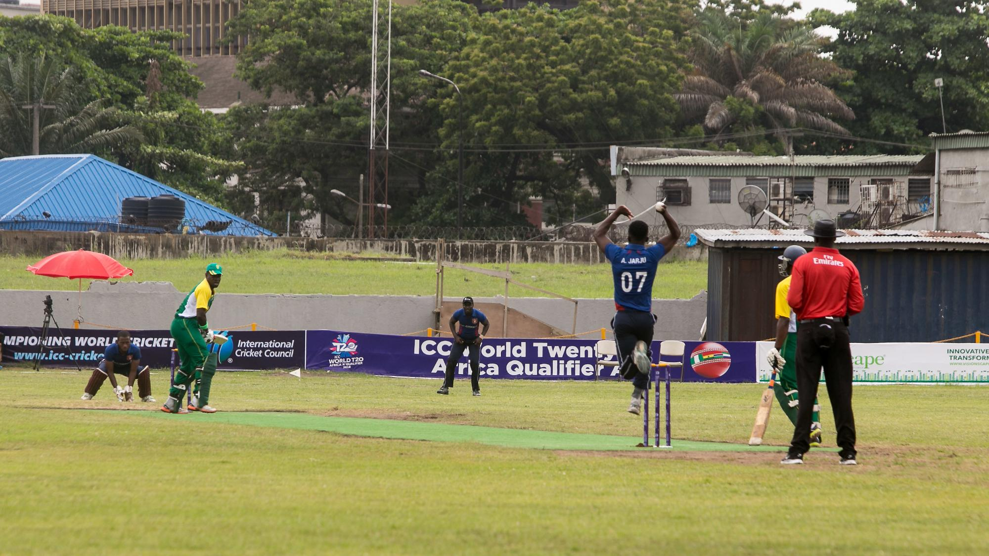 Andrew Jarju (Gambia) bowls to Sola Anya (Nigeria)