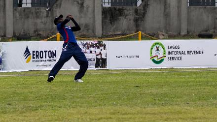 Mohammed Manga (Gambia) takes a catch on the boundary