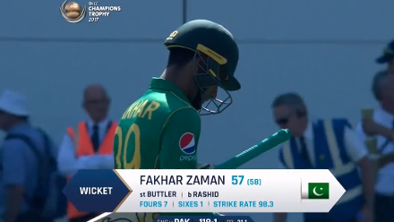 WICKET: Zaman falls to Rashid for 57