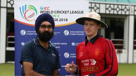 Nathaniel Watkins receive the Man of the Match from ICC Tournament Director Gurjit Singh