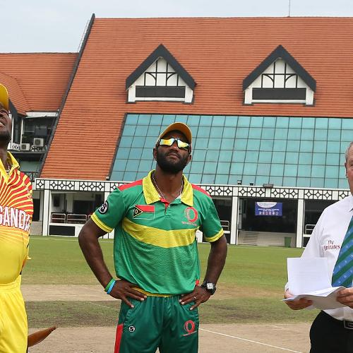 The Uganda and Vanuatu captains at the toss prior to their WCL Division Four game in Kuala Lumpur