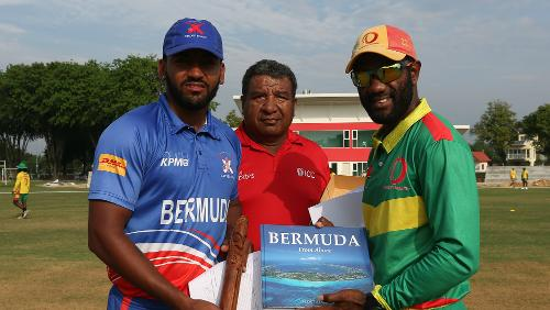 Bermuda and Vanuatu captains with the umpire