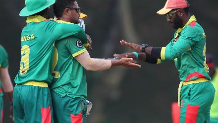 Vanuatu players celebrates after Jelany Chilia had Tre Manders caught and bowled for duck