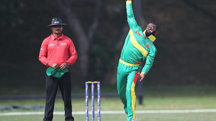Simpson Obed of Vanuatu bowls during the WCL Div 4 match against Bermuda