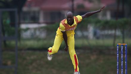 Frank Nsubuga of Uganda bowls during a WCL Division 4 match against Denmark
