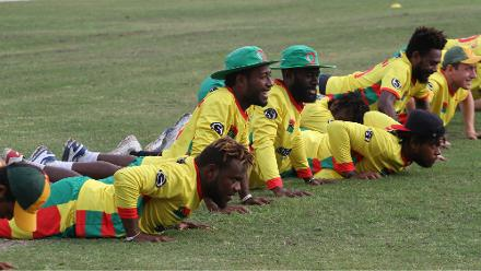 Vanuatu players warming up