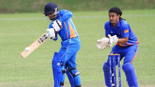 Bermuda v Malaysia: Ahmad Faiz of Malaysia plays a shot