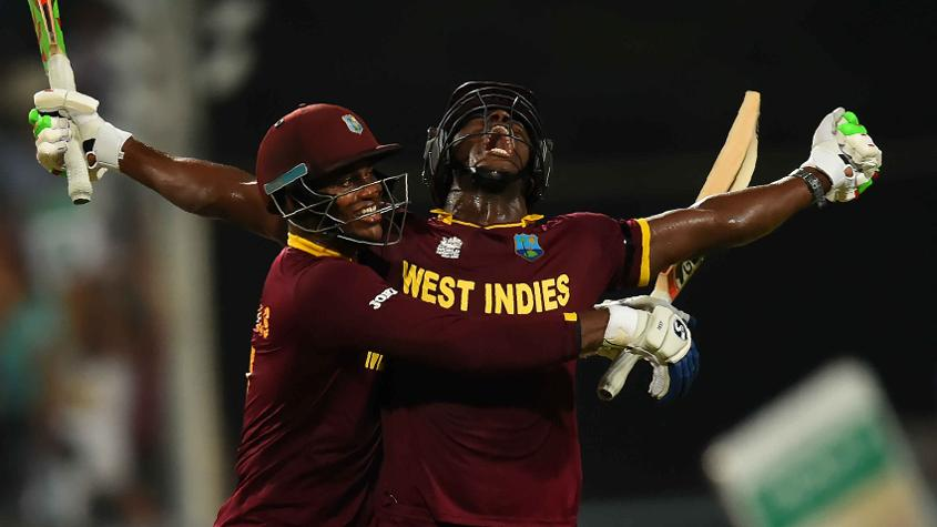The Windies will be led by Carlos Brathwaite (R) and include a number of big-ticket stars