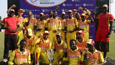 Uganda players with the WCL Division 4 trophy