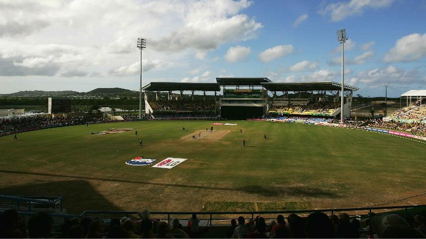 The proceeds from the game will be used to restore five Caribbean stadia, including the Sir Viv Richards Stadium (in pic)