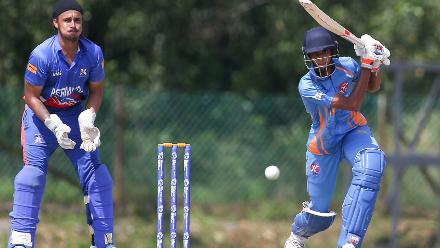 Virandeep Singh struck two boundaries during his stay at the crease but fell for 19