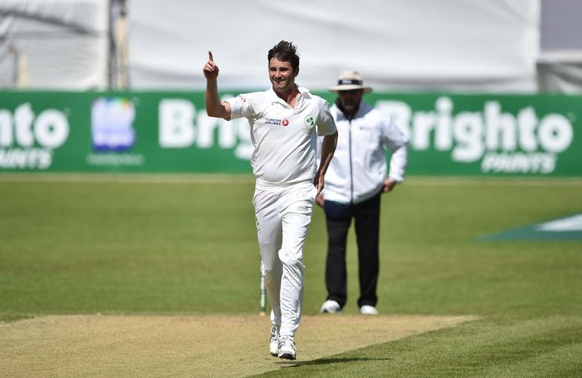 Tim Murtagh celebrates taking the ninth wicket during day three of the one-off Test versus Pakistan.