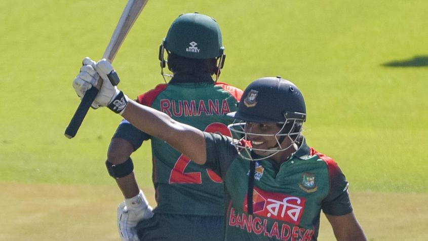 Shamima Sultana scored 67 runs to move up a remarkable 60 spots