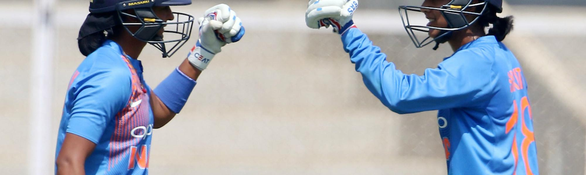 Smriti Mandhana (right) and Harmanpreet Kaur (left) will be leading the two teams in the Women's T20 Challenge Match