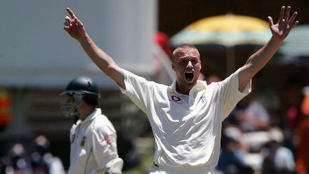 The first Test: Andrew Flintoff had de Villiers out lbw for 28 in Port Elizabeth, December 2004
