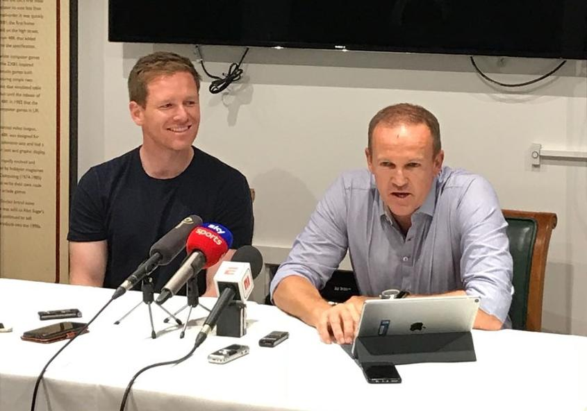 Eoin Morgan and Andy Flower