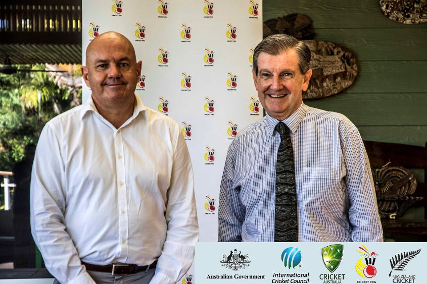 Australia's High Commissioner to PNG Mr Bruce David and Cricket PNG CEO Greg Campbell