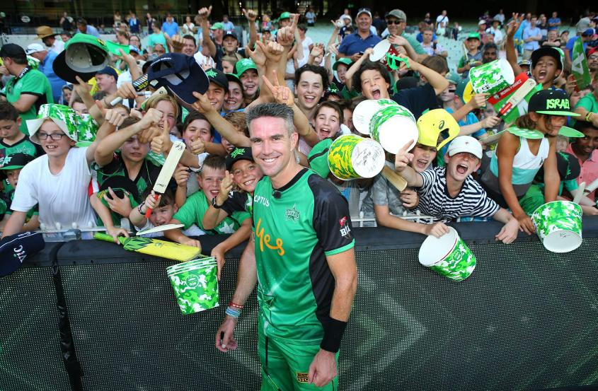 Kevin Pietersen with fans of Melbourne Stars in the Big Bash League