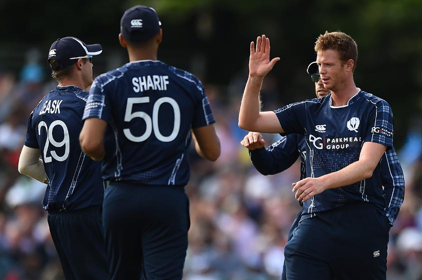 Alasdair Evans was the pick of Scotland's bowlers, taking three of the four wickets to fall