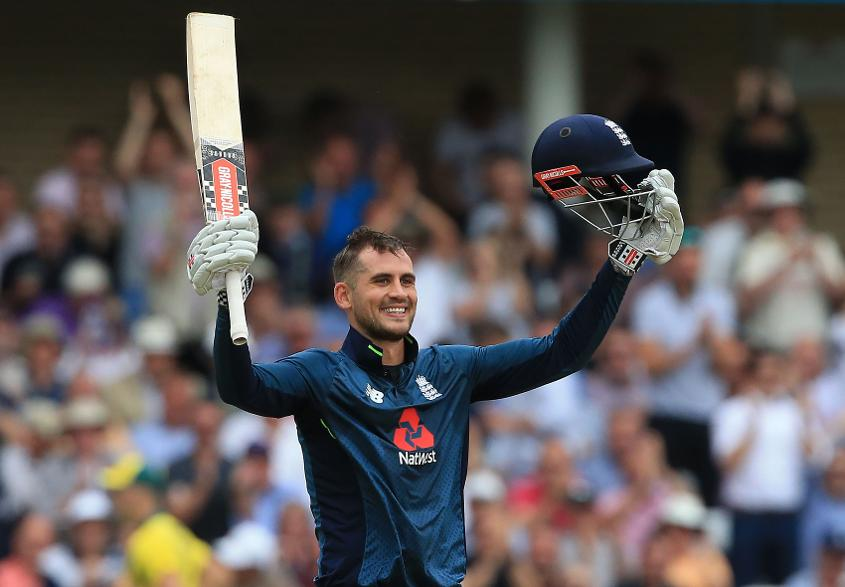 Alex Hales celebrates reaching his century off 62 balls