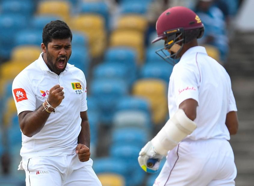 Lahiru Kumara returned 4/58 to help stifle the Windies