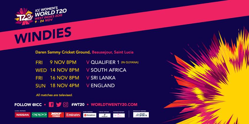 Windies' ICC Women's World T20 2018 fixtures
