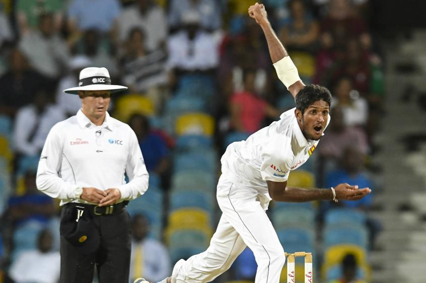 Kasun Rajitha picked up three wickets as the Windies were bowled out for just 93 in their second innings